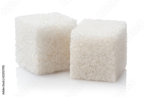 Close-up of two white sugar cubes, isolated on white background Fototapete
