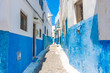 Blue and white street in the medina of Rabat, Morocco