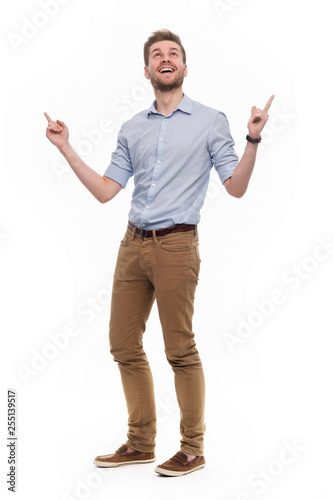 Deurstickers Ontspanning Full length portrait of young man standing on white background