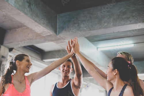 Photographie  Hand coordination of group people smiling with motivated,Sporty young friendly t