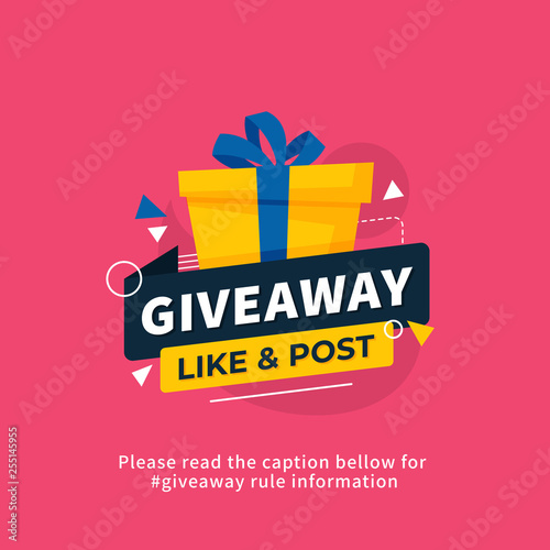 Valokuva Giveaway poster template design for social media post or website banner