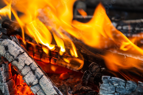 Canvas Prints Firewood texture Burning firewood. Fire, flames, charred wood