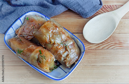 Fotografie, Obraz  Stuffed cabbage with meat and rice-traditional Russian food