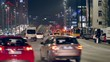 Traffic Jam on the streets of Warsaw. Evening view of the big city street.