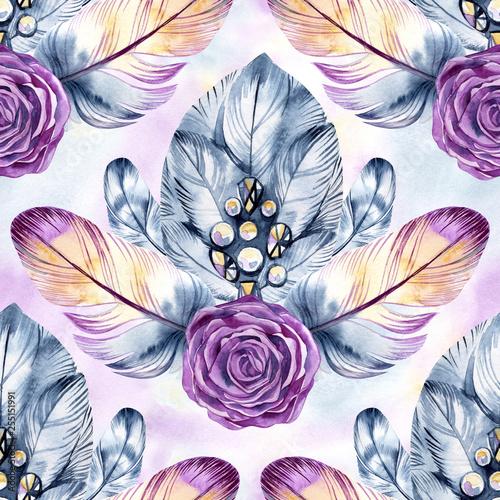 wzor-z-delikatnymi-piorami-roze-akwarela-recznie-rysowane-bizuterii