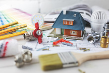 House Building And Repair Concept - Construction And Design Items On Housing Plan