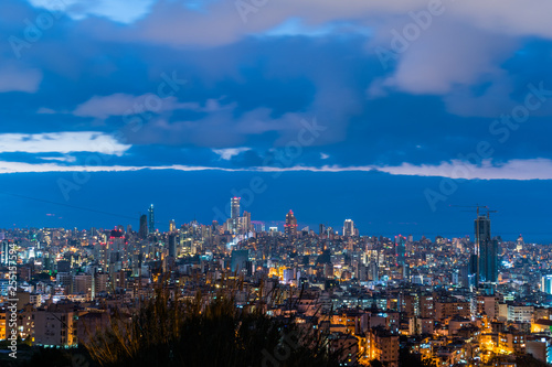 This is a capture of the sunset in Beirut capital of Lebanon with a cool blue co Fototapete