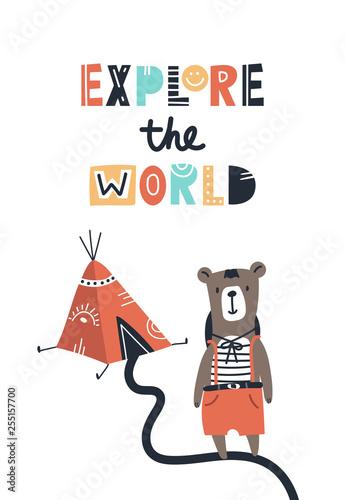 odkrywaj-swiat-recznie-rysowane-plakat-dla-dzieci-z-misiem-wigwamem-i-literami