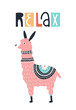Relax - Cute kids hand drawn nursery poster with llama animal and lettering.