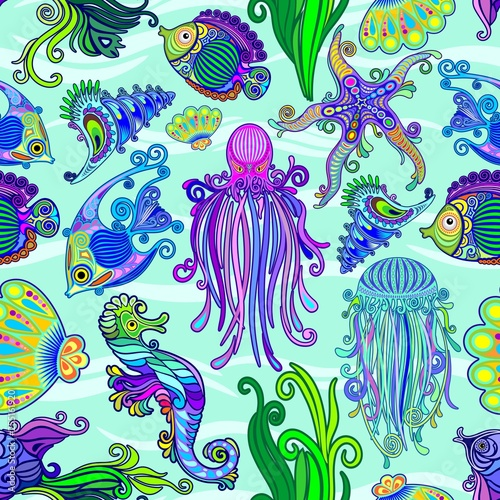 Spoed Foto op Canvas Draw Sea Life Tattoo Style Cute Animals Seamless Pattern Vector Textile Design