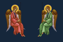 Two Panted Archangels In Cloths. Illustration - Fresco In Byzantine Style.