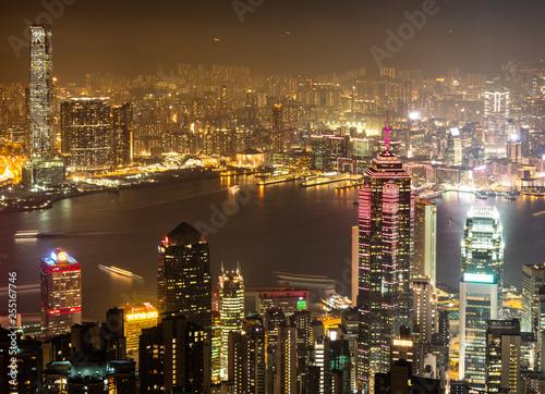 Foto auf Gartenposter Hongkong ヴィクトリア・ピークから眺める香港 夜景