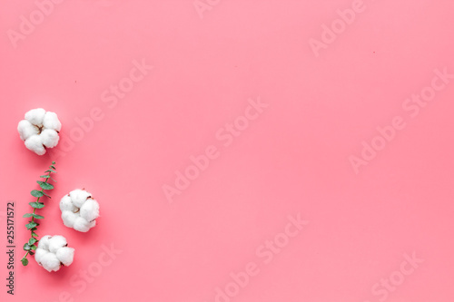 Natural flowers composition with eucalyptus branches and cotton flowers on pink background top view, flat lay copy space