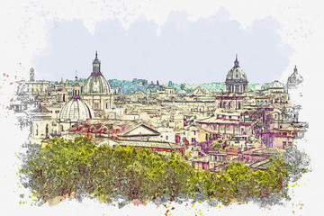 Fototapeta Rzym Watercolor sketch or illustration of a beautiful view of the architecture in Rome in Italy. Cityscape or urban skyline