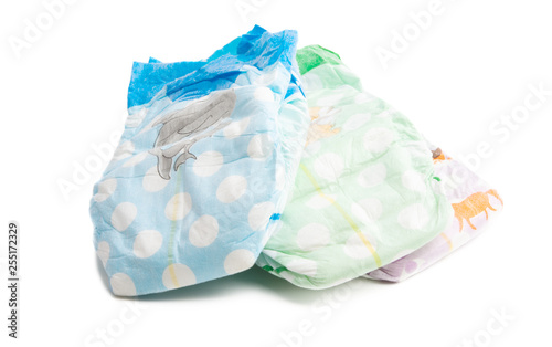 Fotografiet  baby diapers isolated