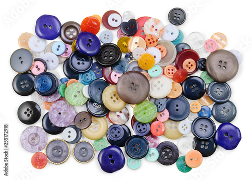 Macarons Group of multicolored sewing buttons isolated on white background. Tailoring concept. Flat lay.