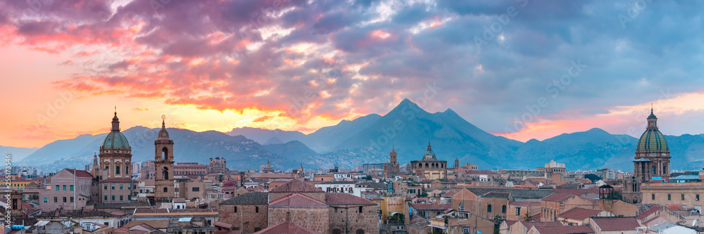 Fototapeta Palermo at sunset, Sicily, Italy