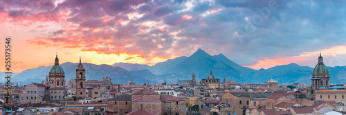 Palermo at sunset, Sicily, Italy #255173546