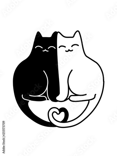 A Cartoon Vector Drawing Of A Black And A White Cats In Love Sitting Together With Their Tails Shaped Like A Heart Buy This Stock Vector And Explore Similar Vectors At