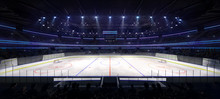 Grand Ice Hockey Arena Inside View Illuminated By Spotlights, Hockey And Skating Stadium Indoor 3D Render Illustration Background, My Own Design