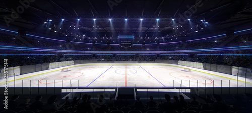 Fotografering grand ice hockey arena inside view illuminated by spotlights, hockey and skating