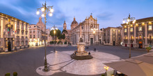 Catania Cathedral At Night, Sicily, Italy