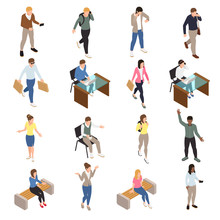 Casual City People Icons Set