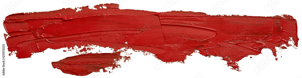 Fototapeta Template for your banner text - long textured red oil paint brush stroke, isolated on white background.