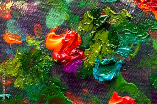 Fotografía  Artistic handmade impasto texture closeup red flowers oil painting
