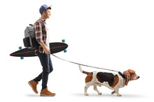 Young Guy With A Backpack And Longboard Walking A Basset Hound Dog