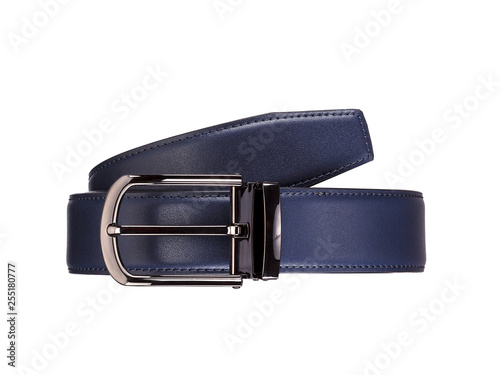 Rolled fashionable men's blue leather belt with dark matted metal buckle isolate Wallpaper Mural
