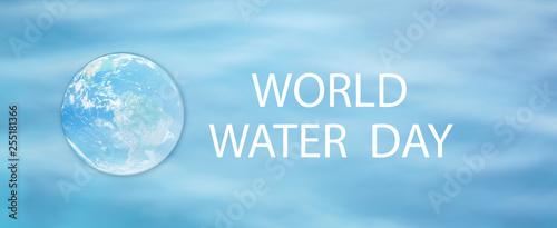 "Fotografie, Obraz  sphere global inside water drop on blur blue background for ""world water day"" co"