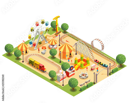 Amusement Park Isometric Composition Fototapeta