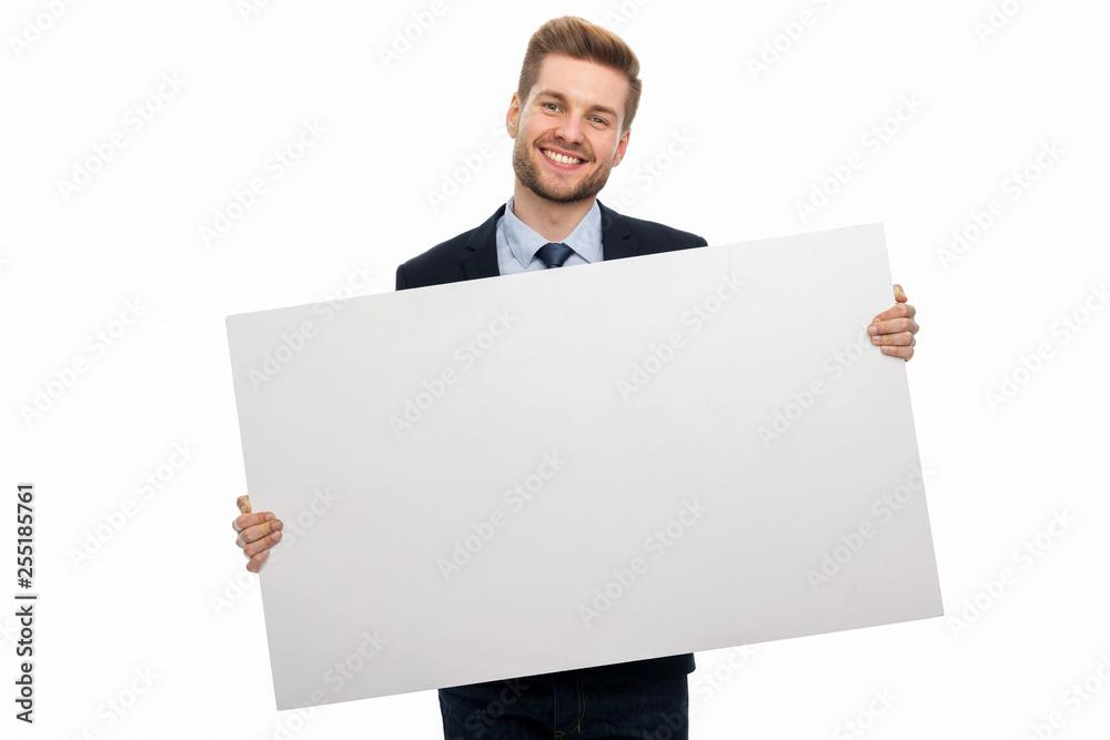 Fototapeta Business man holding white board