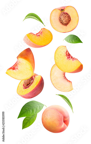 Leinwand Poster Falling peach isolated on white background