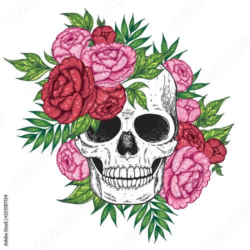 Printed kitchen splashbacks Skull and flowers hand drawn illustration. Tattoo vintage print. Skull and peony.