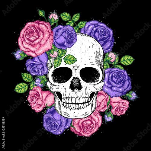 Printed kitchen splashbacks Skull and flowers hand drawn illustration. Tattoo vintage print. Skull and roses.
