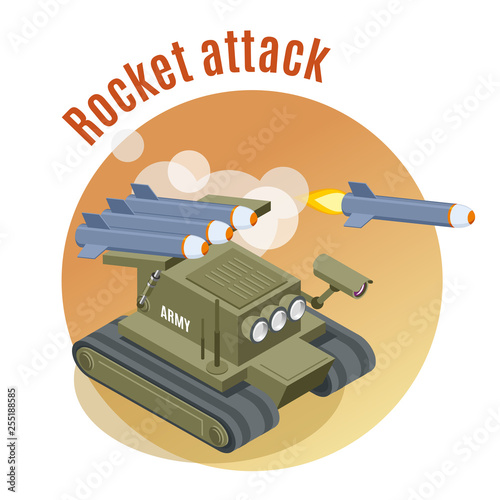 Fotografía  Rocket Attack Isometric Background
