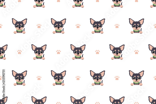 fototapeta na lodówkę Vector cartoon character chihuahua dog seamless pattern for design.