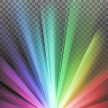 Rainbow Colored Rays With Color Spectrum Flare