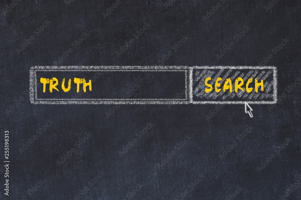 Fototapeta Chalk board sketch of search engine. Concept of looking for truth