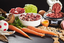 Preparing Raw Barf Food For A Pet Dog Or Cat