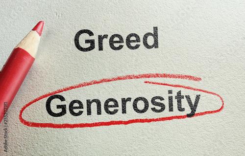 Photo  Generosity and Greed