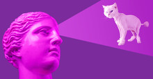 Modern Conceptual Art Poster With Purple Pink Antique Bust And White Cat. Contemporary Art Collage.