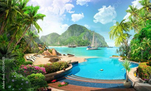 tropical beach in thailand, yacht hotel
