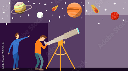 A man looks through a telescope at the planets and stars Wallpaper Mural