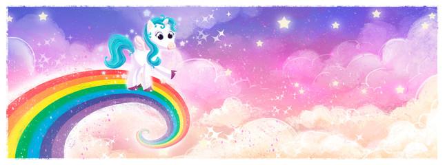 pony unicornio volando en arcoiris