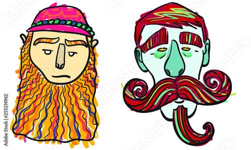 Tela  Par de Hombres con Barbas