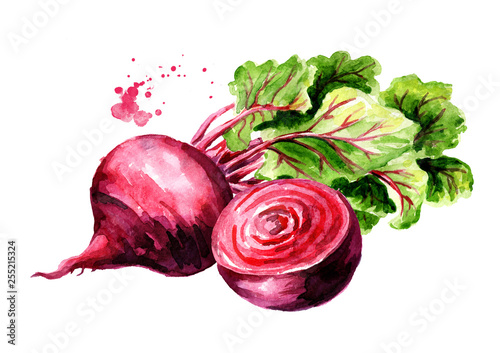 Fototapeta Fresh whole and half Beet root with green leaves