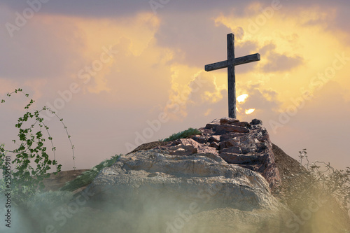 stairs to the cross of Jesus Christ 3d render Fototapet